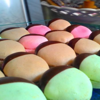 Chocolate-dipped-macarons